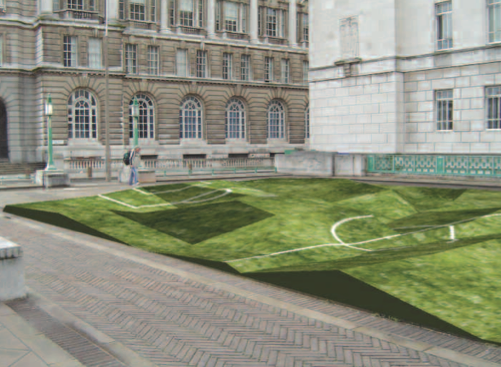 Football Field, 2006. Liverpool Biennial. Grass, dirt, white paint and football goal. Variable dimensions. Courtesy of the artist. Cancha, 2006. Bienal de Liverpool. Grama, tierra, pintura blanca y portería de fútbol. Dimensiones variables. Cortesía de la artista.