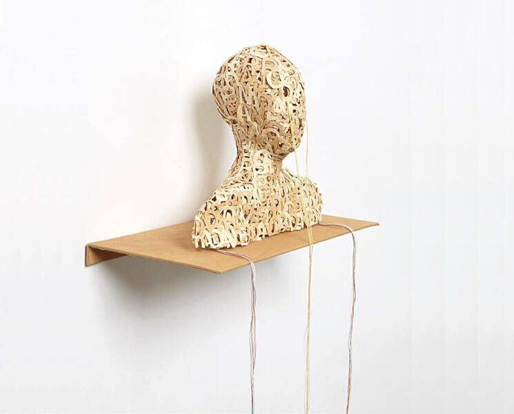 LESLEY DILL HEAD, 2003 cast, die-cut pigmented abaca paper letters with thread, stainless-steel shelf covered in tea stained muslin cloth, Edition of 25 6 x 7 x 3 1/2 in.  15.2 x 17.8 x 9 cm.