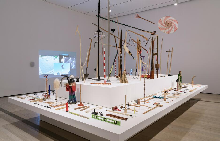 14.	Michael Linares, Museo del palo (Museum of the Stick), 2013–17, and Una historia aleatoria del palo (An Aleatory History of the Stick), 2014. (LACMA, Home—So Different, So Appealing)