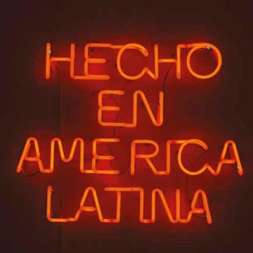 Dolores Cáceres, Hecho en America Latina [Made in Latin America], 2013 10 mm. red neon, 65 cm. x 55 cm. x 5 cm. Private collection. / Neón rojo de 10 mm. 65 cm x 55 x 5 cm.