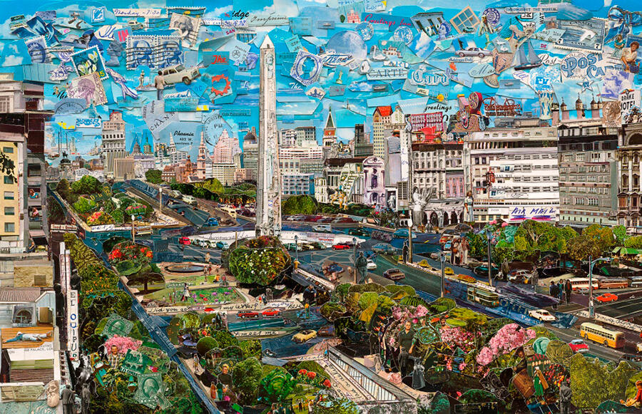 Vic Muñiz, Buenos Aires. Photographic collage, 71 x 110 in. / Collage fotográfico, 180,3 x 279,4 cm
