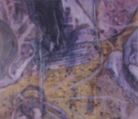 """OM"", 49"" x 57"" , mixed media and oil on canvas, 2001."
